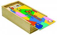 """Деревянная игра Домино """"Мышка"""" для детей от 2 лет (Размер 18,5 х 5 х 10 см, 28 деревянных фишек) ТМ Bino 13500"""