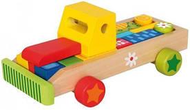 """Деревянная развивающая игрушка """"Машина с кубиками"""" для детей от 1 года (21 деталь, 27 х 11 х 15 см) ТМ Bino 84152"""