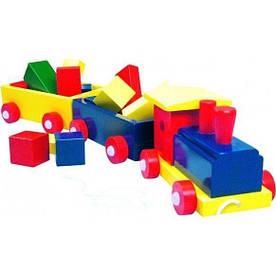 """Деревянная развивающая игрушка """"Поезд большой с 2 вагонами"""" для детей от 1 года ТМ Bino 82141"""