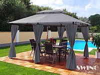 Павильон Swing & harmonie 3 х 4 м Серый с LED подсветкой от солнечной батареи