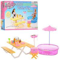 Мебель для кукол бассейн, столик, скамейка, зонт, посуда, сумка-холодильник, в коробке