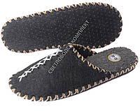 Тапки фетровые ручной работы, темные с белым шнуром, р.43-44