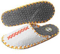 Тапки фетровые ручной работы, белые с оранжевым и желтым шнуром, р.35-36, фото 1