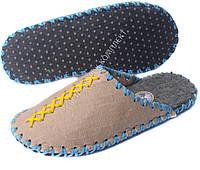 Тапки фетровые ручной работы, светлые с желтым и голубым шнуром, р.39-40, фото 1