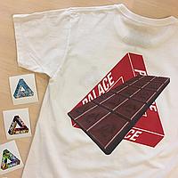 Palace Skateboarding chocolate футболка. Бирки печать. Живые фотки.