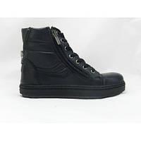 Зимние кожаные полностью натуральные ботинки черного цвета на мальчика
