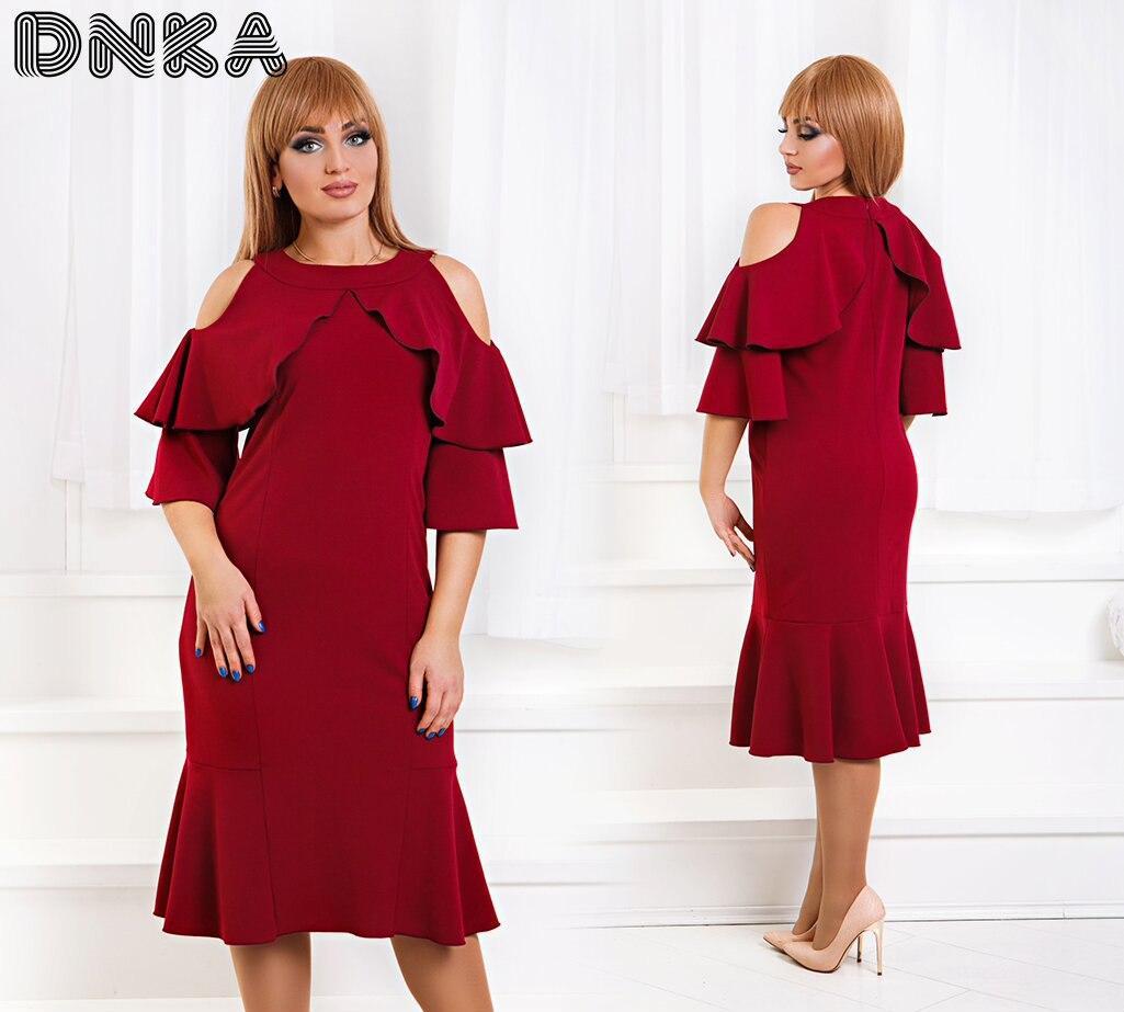 """Платье """"Абагэйл"""" ,больших размеров,декорировано воланами от плеча и вырезом, бордового цвета код 1/8498"""