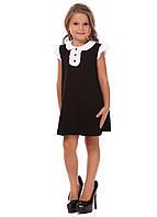 Платье черное с коротким рукавом