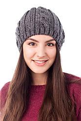 Модная женская шапочка цвета антрацит