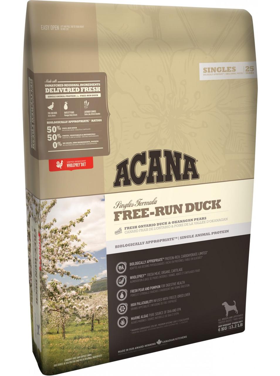 Acana (Акана) Adult Free-Run Duck гипоаллергенный корм для собак с уткой, 2 кг