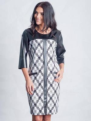 0b365556b6f0 Модное женское платье свободного силуэта с элементами эко-кожи 48-54 ...