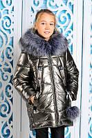 Зимнее пальто для девочки с искусственным мехом  р-ры 140
