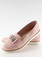 Розовые пастельные замшевые женские мокасины T245 39