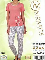 Пижама женская однотонная со штанами с рисунком