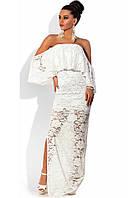 Белое гипюровое платье в пол с открытыми плечами