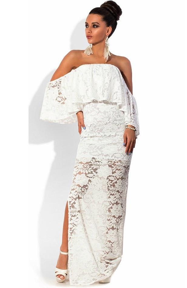 dae3b328649 Белое Гипюровое Платье в Пол с Открытыми Плечами — в Категории ...