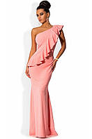 Платье в пол с косой оборкой до бедра персиковое