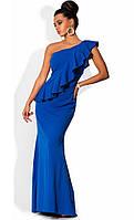 Платье в пол с косой оборкой до бедра синее