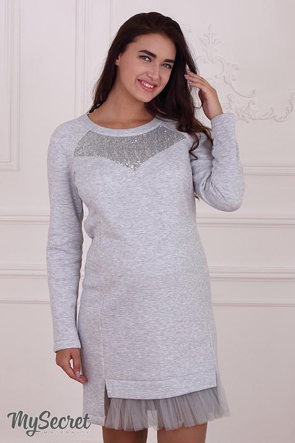5f87bfe4f1ab Нарядное платье-туника для беременных и кормящих HLOYA, из теплого  трикотажа с начесом, серый меланж