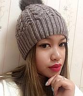 Женская шапка полушерсть с натуральным бубоном