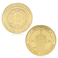 Сувенир Биткоин монета с позолотой