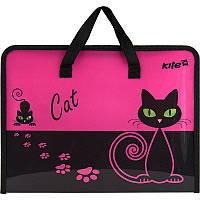 Папка с ручками А4 на молнии Kite Black Cat K17-202-1