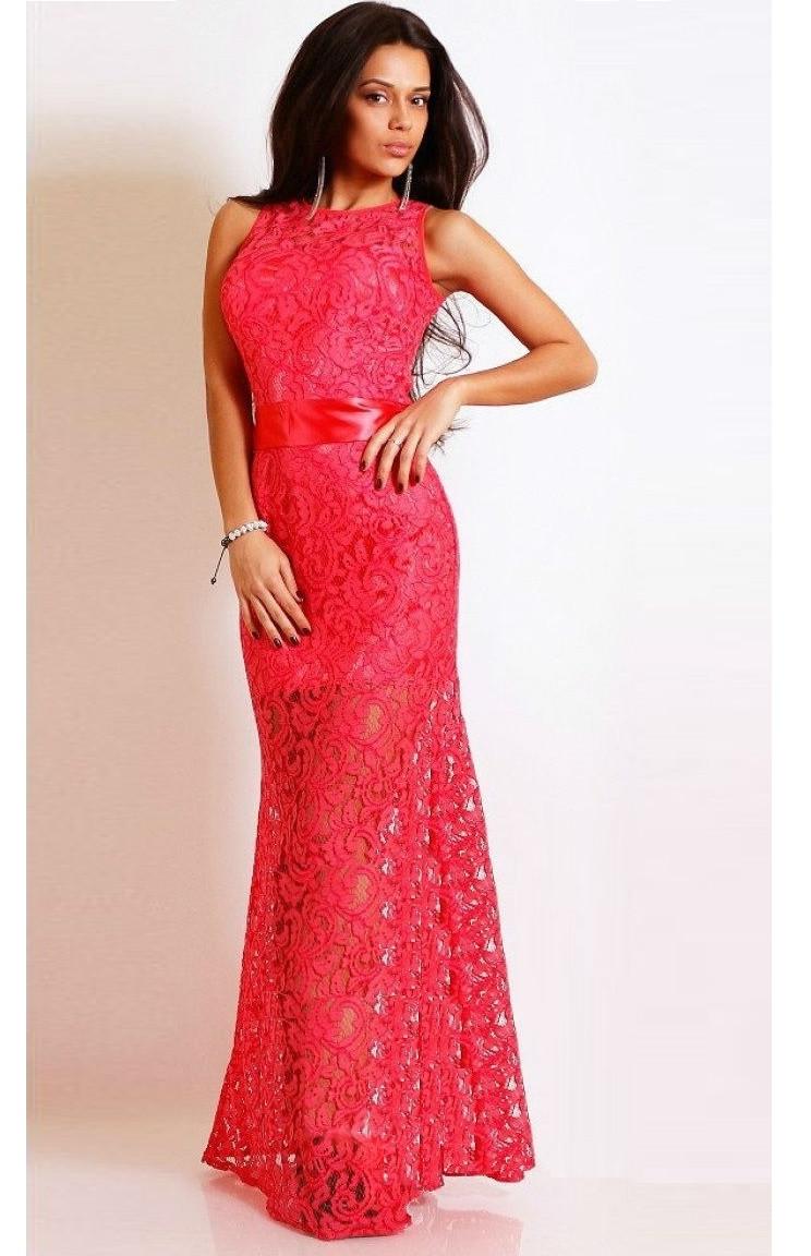 Ажурное платье в пол без рукавов коралловое