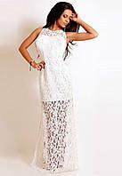 Ажурное платье в пол без рукавов белое