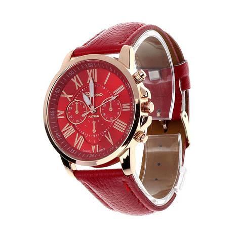 Прекрасные женские часы Geneva с красным ремешком