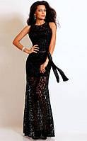 Ажурное платье в пол без рукавов черное