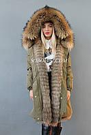Модная парка хаки с мехом канадского енота и отстежкой на жилет, фото 1