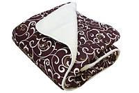 Одеяло двуспальное меховое, 180х215 см ткань бязь.(Вензеля коричневые, N-4573)