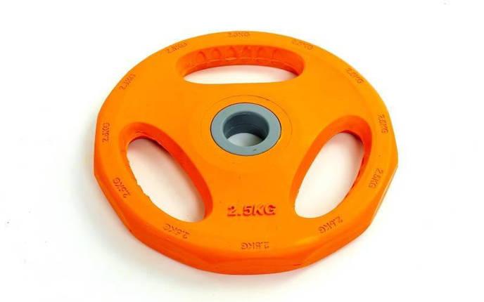 Блины обрезиненные с хватом для штанги фитнес памп BP3031 d-30мм 2,5кг PL26-2,5 (отв. d-30мм, оранж), фото 2