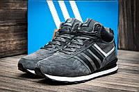 Зимние кроссовки Adidas замша, мужские, серые, на меху