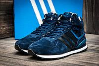 Зимние кроссовки Adidas замша, мужские, темно-синие, на меху