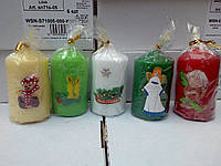 Свечи новогодние декоративные столбики с  аппликация 9,5*5 см