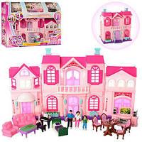 Кукольный домик 16427 24.5-27см, фигурки 3шт, мебель, в кор-ке 50-36-10,5