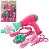 Набор парикмахера C176A фен(звук) расческа,зеркало, заколоч, ножницы, на бат, на листе,25-35,5-5см