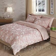 Постельное белье Tac сатин Delux Shadow розовое семейного размера