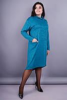 Стиль. Повседневное платье супер батал. Аквамарин.