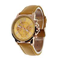 Прекрасные женские часы Geneva с желтым ремешком