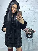 Черная женская шуба 90 см до колен с капюшоном мех под норку 14695SU