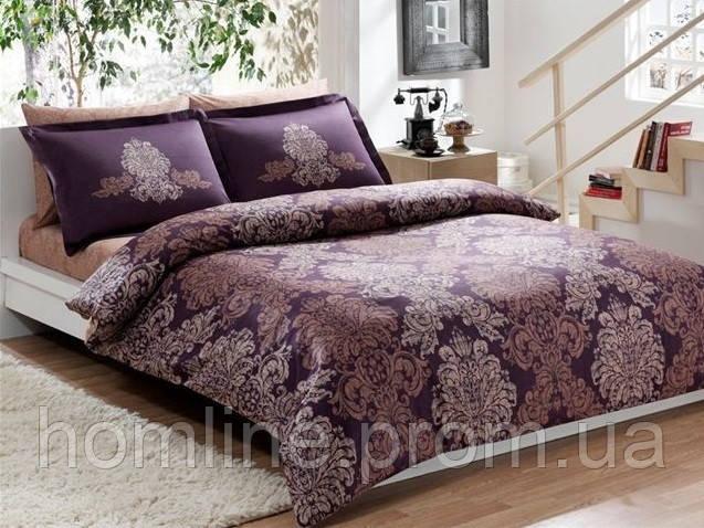 Постельное белье Tac сатин Delux Pavona фиолетовое семейного размера