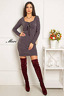 Приталенное платье из ангоры со шнуровкой на груди и овальным вырезом 14635PL