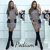 Прямое платье с воротником и накладными карманами 14638PL