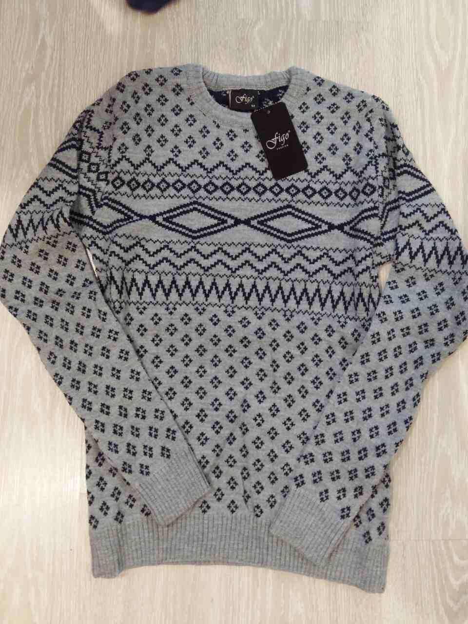 Шерстяной свитер с круглым вырезом, стильный узор, Турция С,М,Л,ХЛ