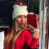 Женская теплая шапка с полоской (на флисе) 14682AK
