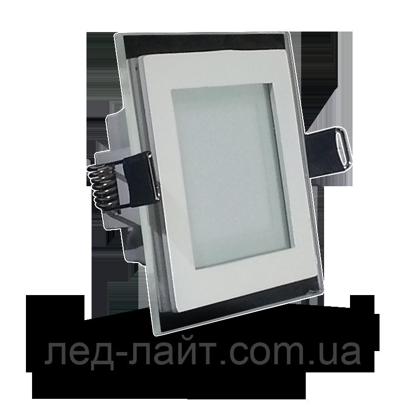 Светодиодная панель (врезная) квадрат 6Вт, 95мм, со стекляной рамкой