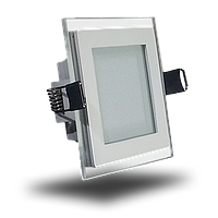 Светодиодная панель (врезная) квадрат 6Вт, 95мм, со стекляной рамкой, фото 1