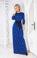 """Женское длинное нарядное платье с поясом """"бант"""", в расцветках"""